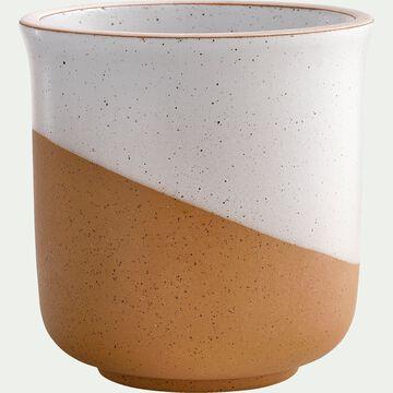 Vase bicolore en faïence - blanc et marron H10cm-TUP