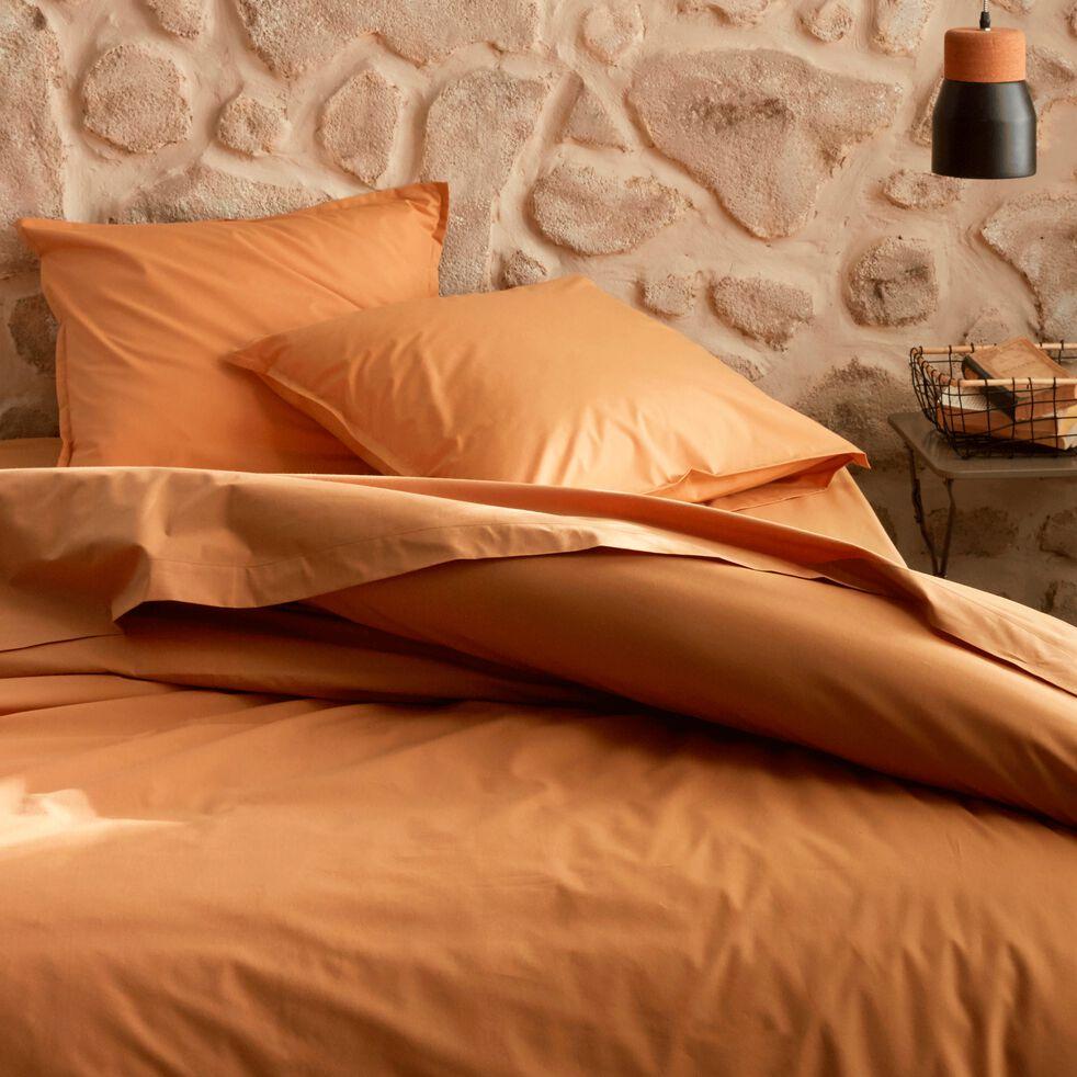 Housse de couette en percale de coton - beige nèfle 240x220cm-FLORE