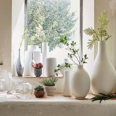 Vase cylindrique en céramique - blanc ventoux D13xH40cm-MARRA
