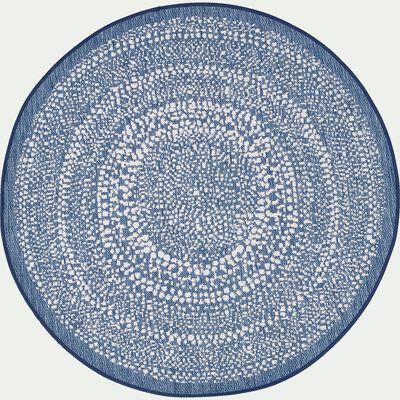 Tapis intérieur et extérieur rond - bleu D120cm-lana