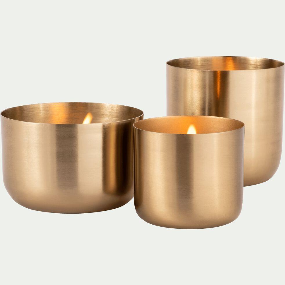 Bougie structuré métal - doré 375g-EPSILON