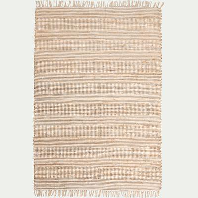 Tapis en coton recyclé et jute - blanc 120x170cm-lieto