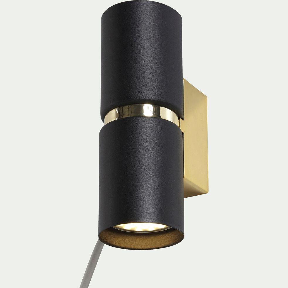 Applique murale en acier noir et doré H17cm-PASSA