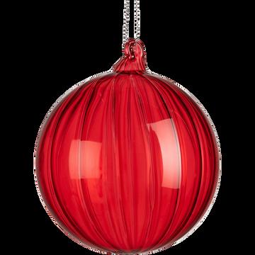 Boule de Noël en verre rouge azerole D8cm-BARANGAY