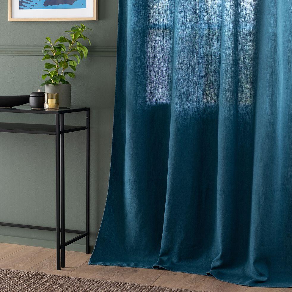 Rideau à œillets en lin lavé - bleu figuerolles 140x280cm-VENCE