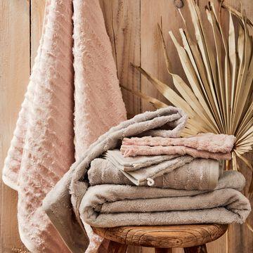 Lot de 2 gants de toilette longues mèches en viscose et coton - rose grège-AUBIN