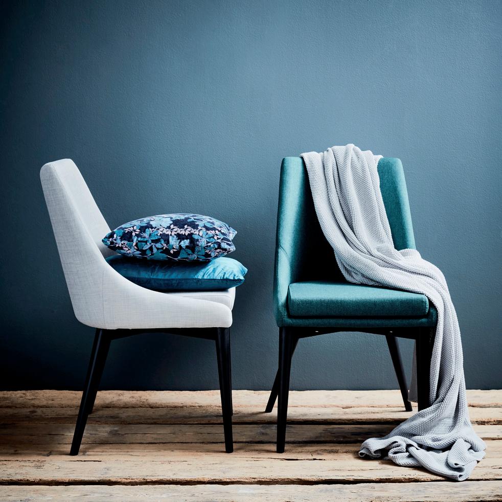 Chaise en tissu gris pieds noirs-ABBY
