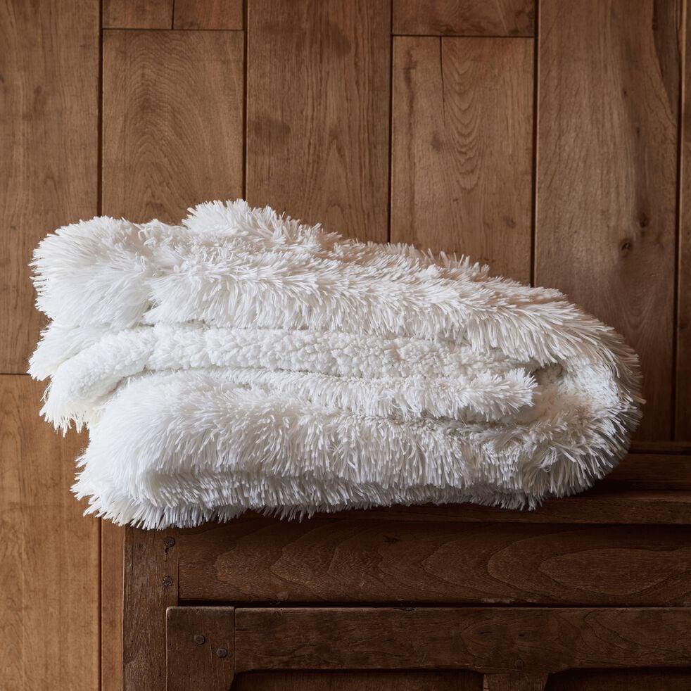 Couvre-lit imitation fourrure en polyester - blanc 130x170cm-ELEC