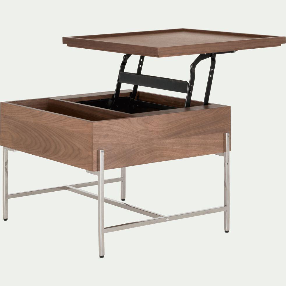Table Basse Carree Plaquee Noyer Avec Plateau Relevable Clarius