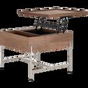 Table basse carrée plaquée noyer avec plateau relevable-CLARIUS