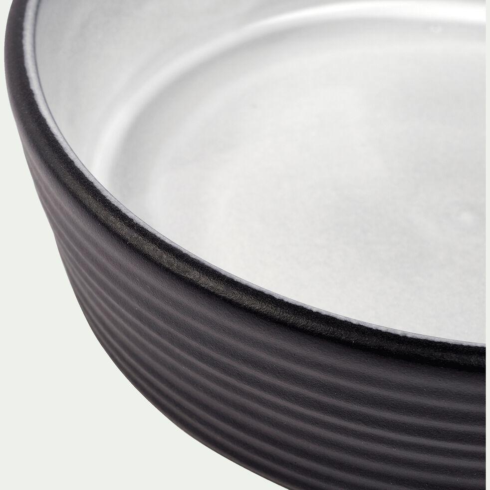 Saladier en faïence - noir et gris clair D18cm-TIERRA