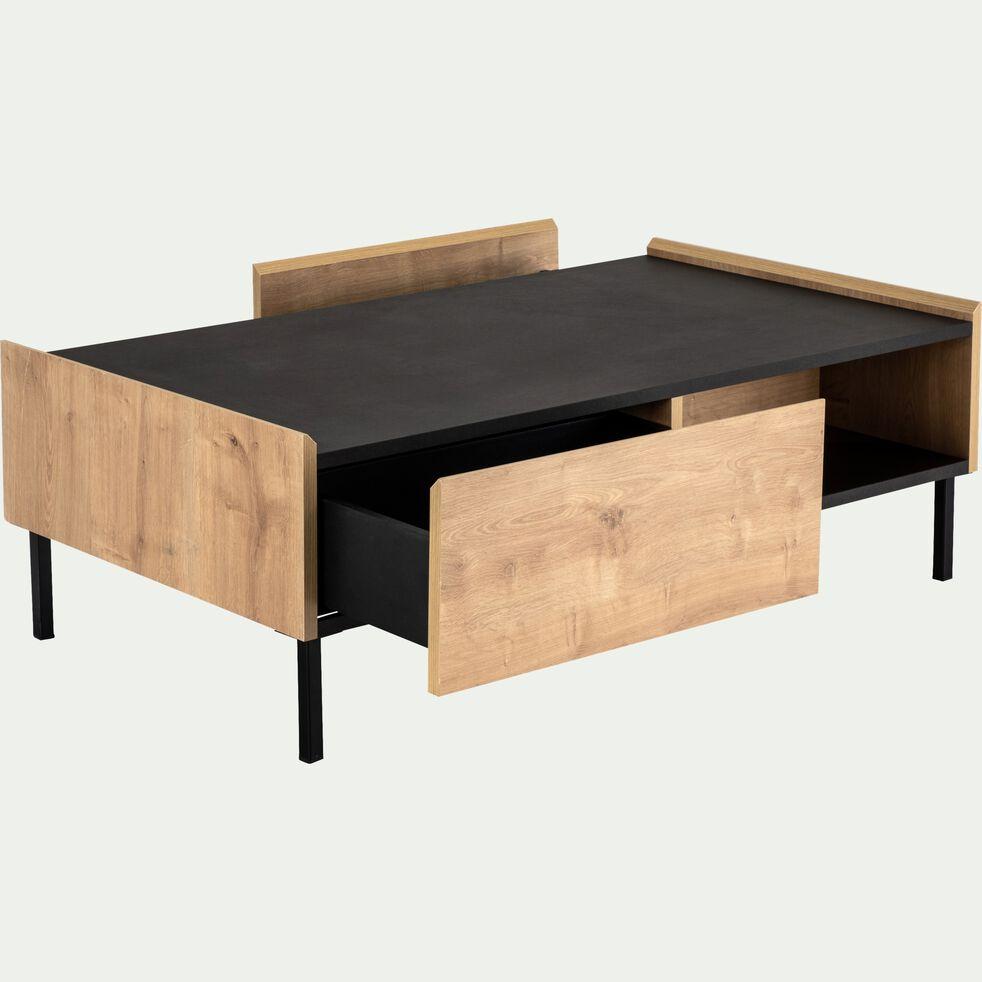 Table basse 2 tiroirs coloris chêne et ardoise aux reflets marron-MADON