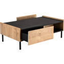 Table basse 2 tiroirs coloris chêne et ardoise-MADON