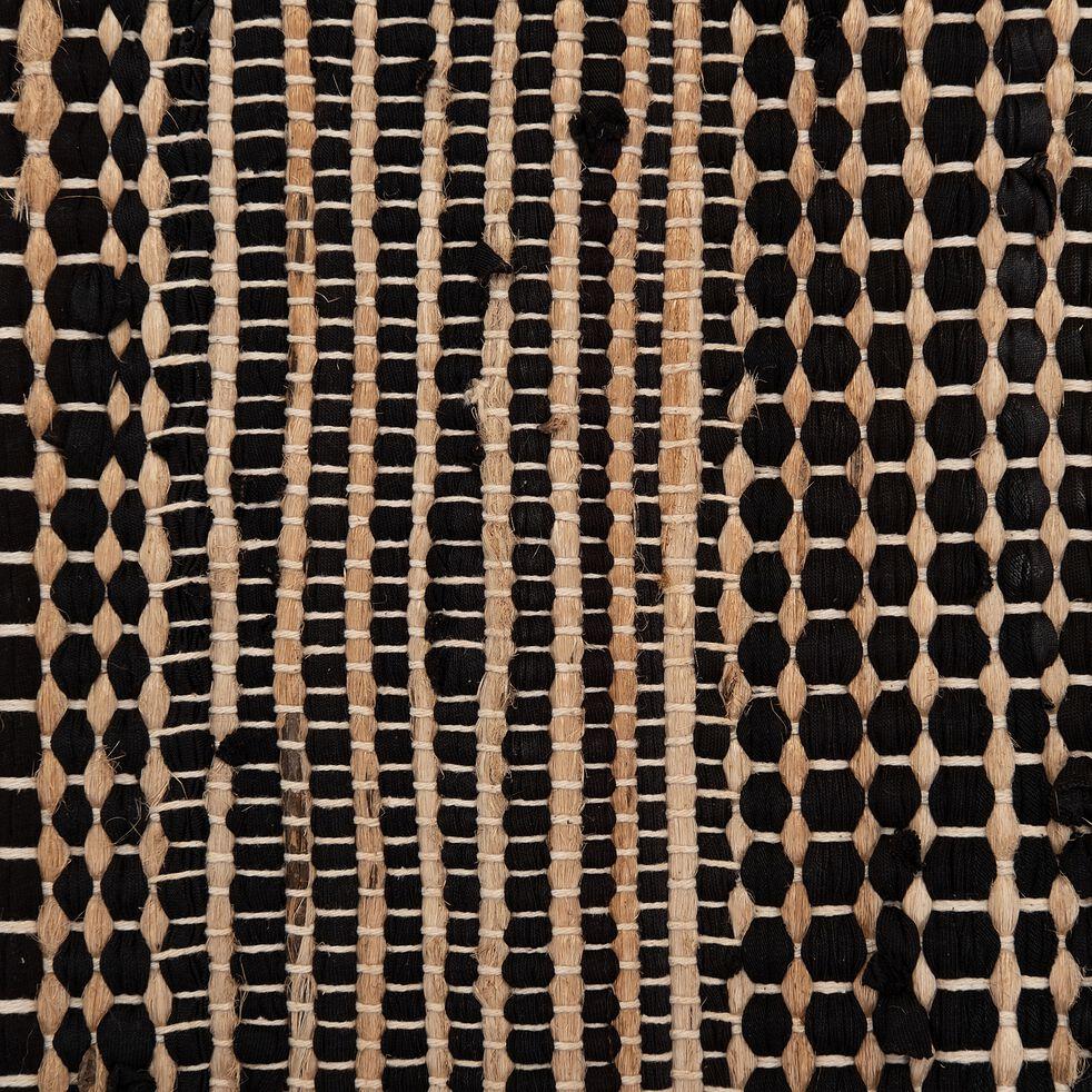 Tapis en coton de t-shirt recyclé et jute - noir 110x60cm-lieto