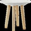 Bout de canapé blanc avec pieds en pin massif-GRAPHIK