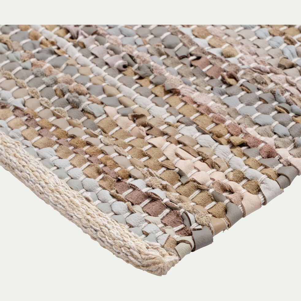 Tapis tressé en cuir et coton - marron 150x200cm-MARIELLE