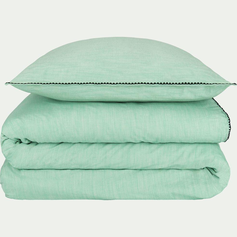 Drap housse en coton lavé - vert menthe 160x200cm B27cm-RIMINI