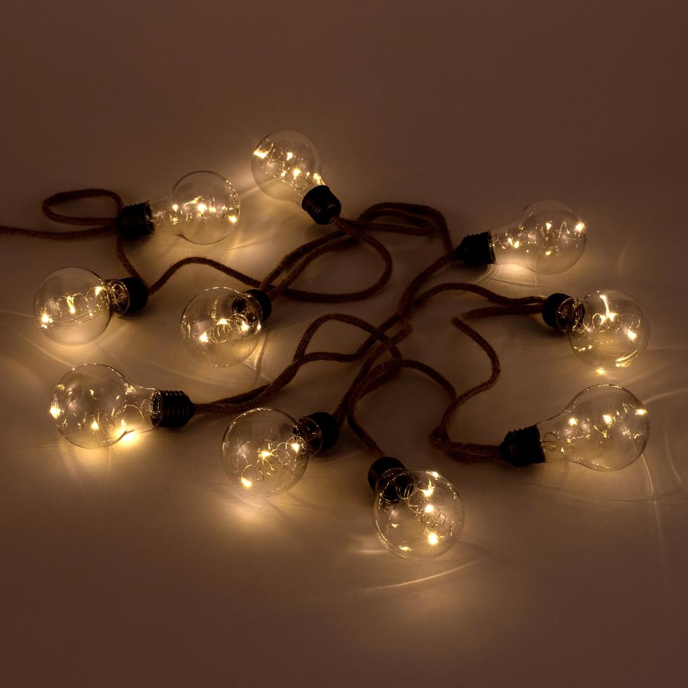 Guirlande lumineuse LED en corde 270cm-chanvre