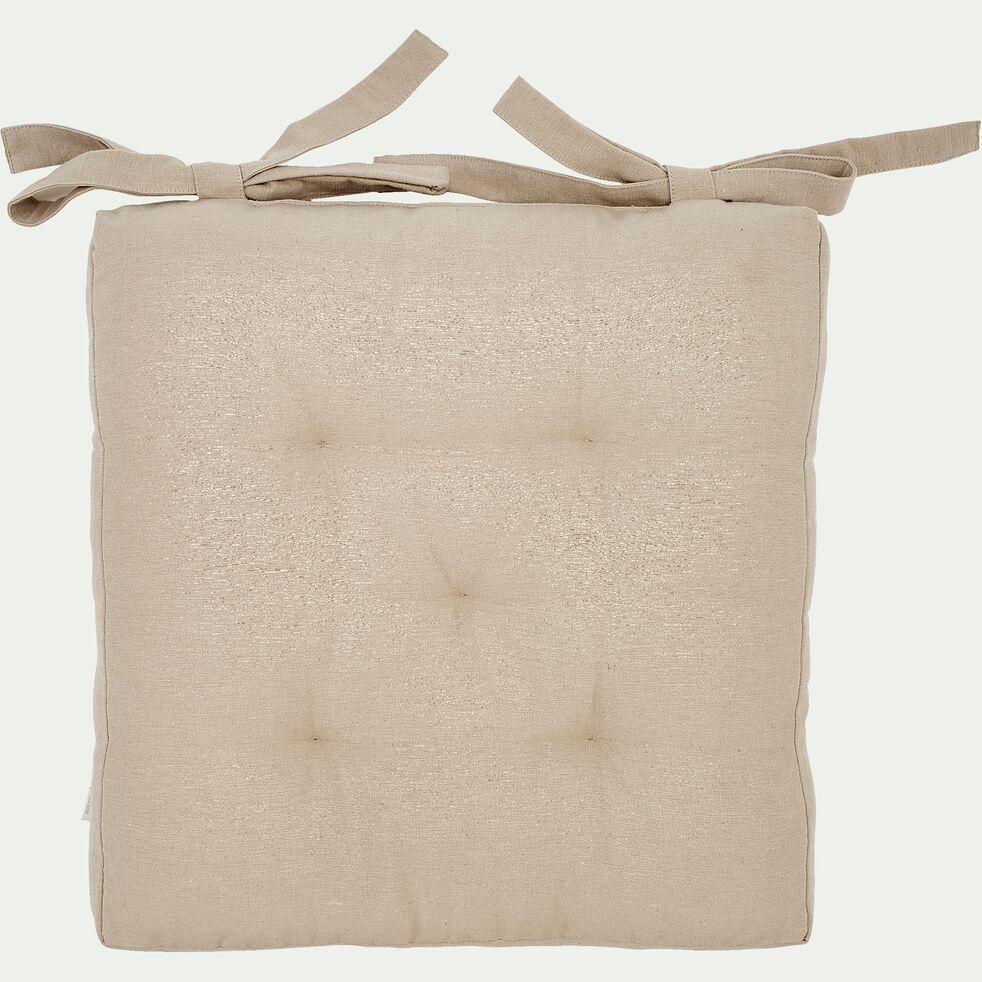 Galette de chaise carrée en coton - beige alpilles 40x40cm-CALANQUES
