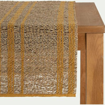 Chemin de table en paille et coton - naturel 50x150cm-SONA