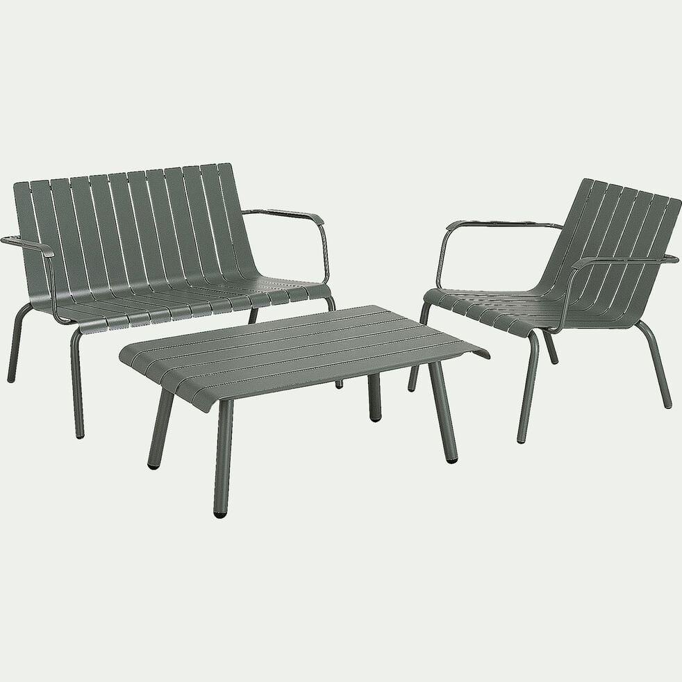 Salon de jardin en aluminium vert cèdre (3 places)-PARADOU