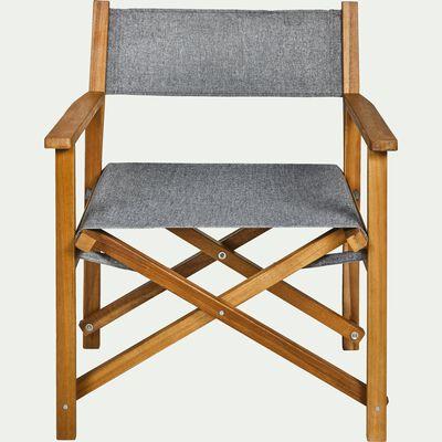 Fauteuil de jardin en acacia et tissu avec accoudoirs gris-ESCALET