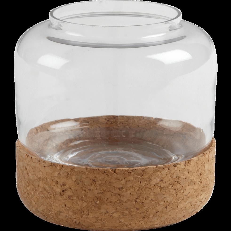 Vase en verre avec support en liège D10cm-POMMIER