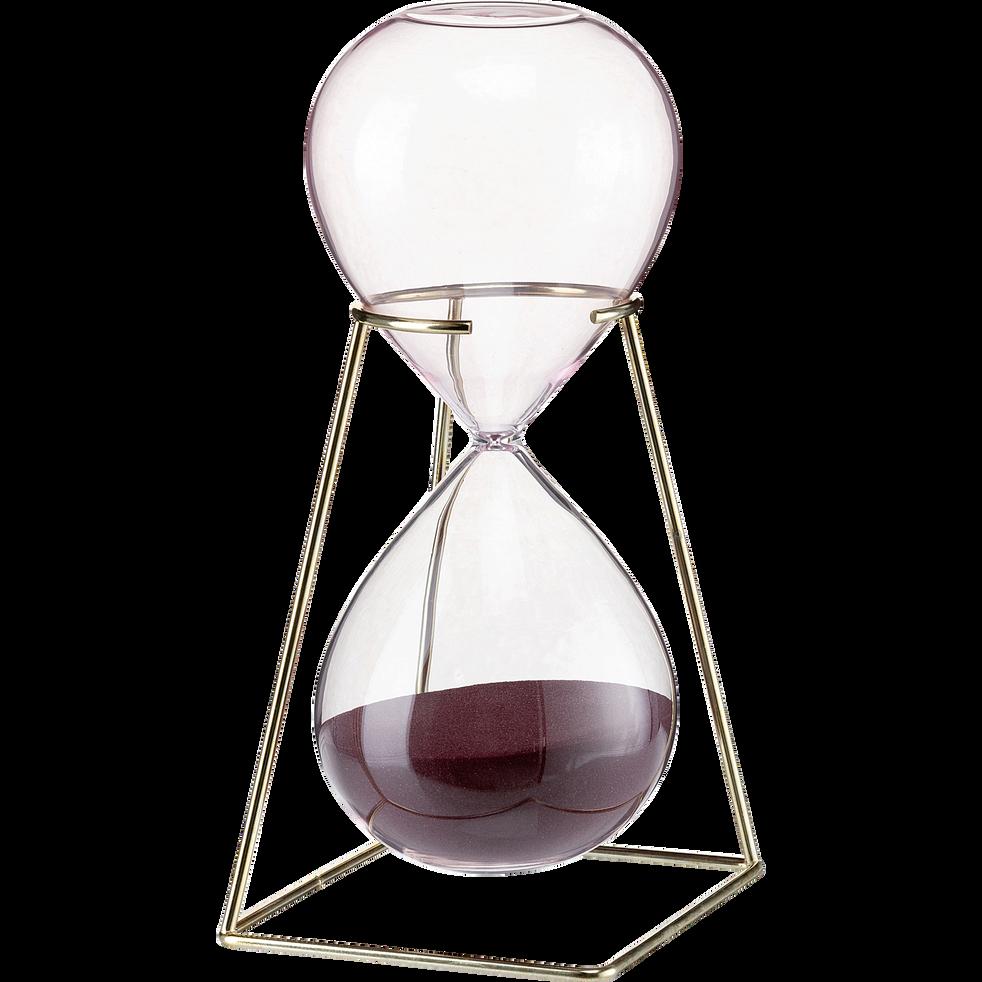 Sablier en verre et métal h26cm-CLESSIDRA