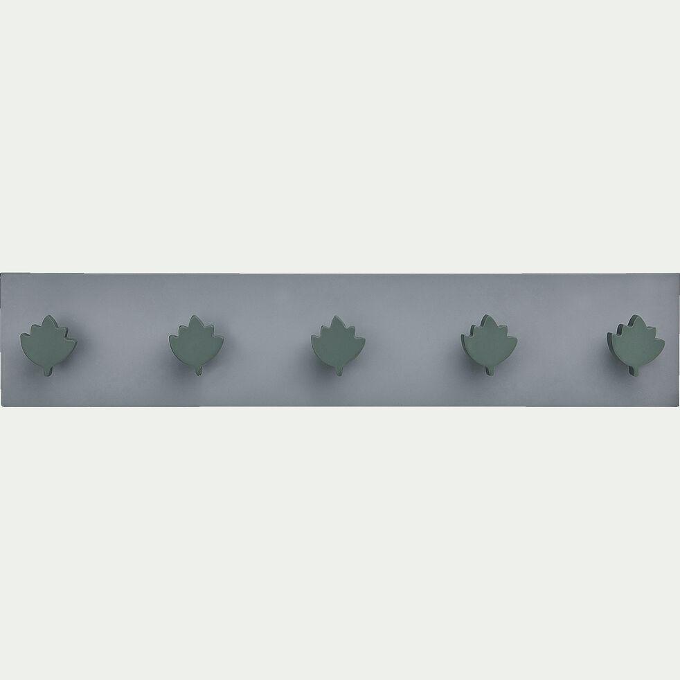 Patère en bois avec 5 points d'accroche - vert-Panjadou