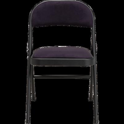 Chaise pliante en métal et tissu noir calabrun-CASTA