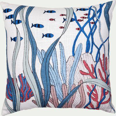 Coussin carré en coton 40x40cm fond blanc - multicolore-Mambo