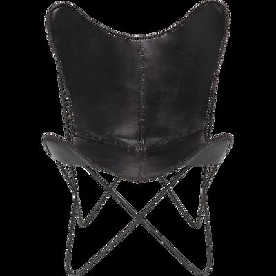 Housse de fauteuil butterfly en cuir noir-BUTTERFLY