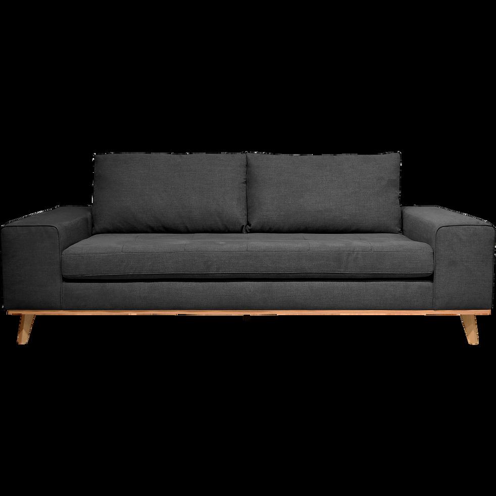 canap 3 places fixe en tissu anthracite picabia canap s droits en tissu alinea. Black Bedroom Furniture Sets. Home Design Ideas