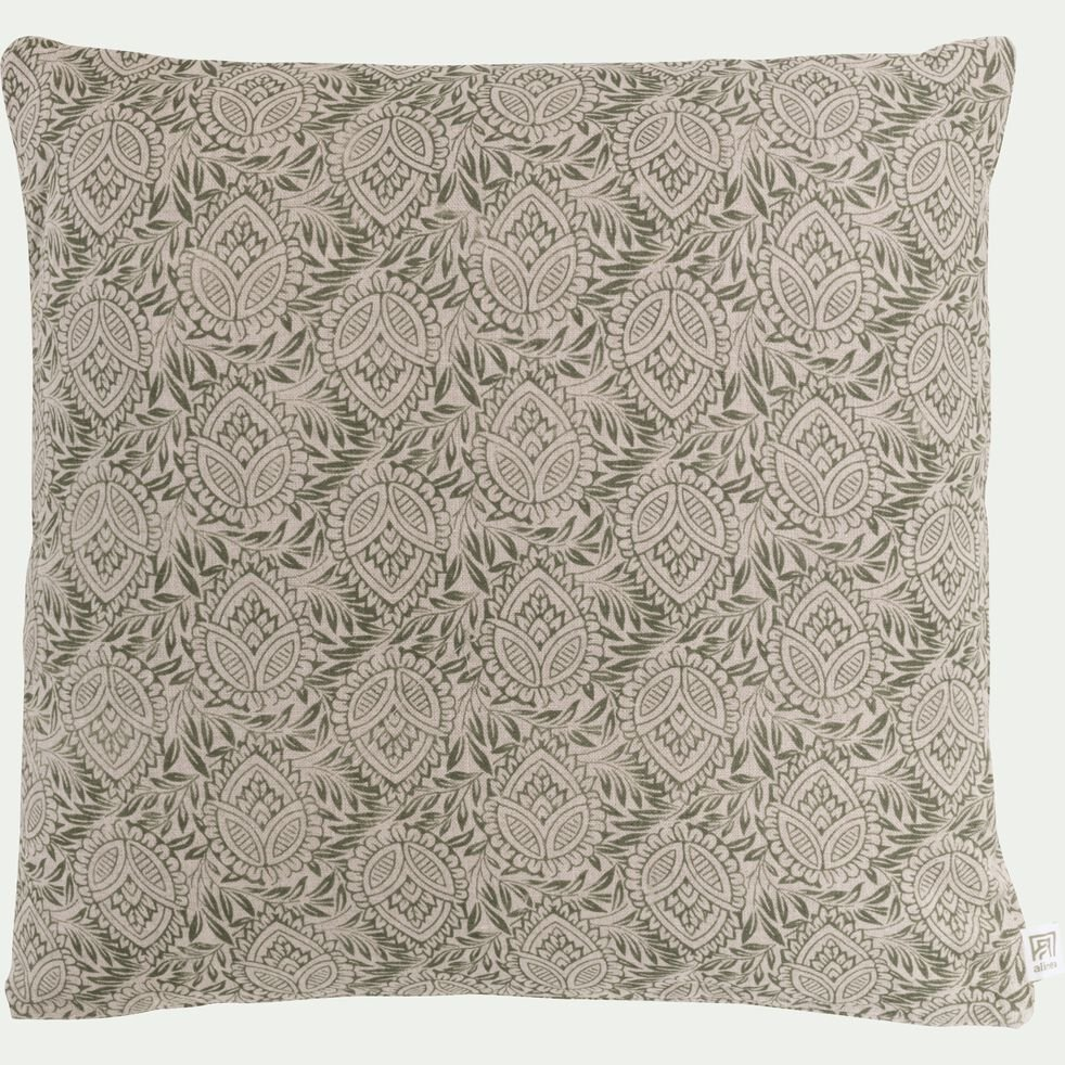 Coussin motif Amande en lin - vert olivier 45x45cm-AMANDE