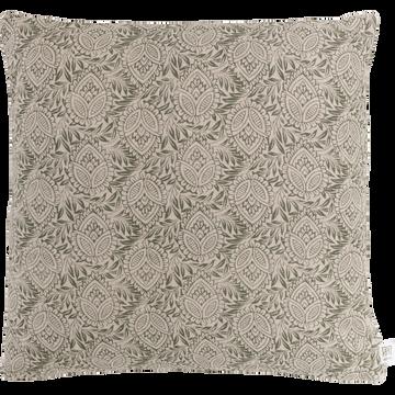 Coussin en lin imprimé vert olivier 45x45cm-AMANDE