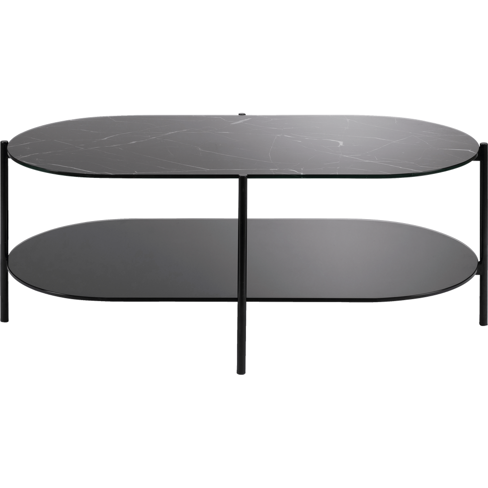 table basse ovale en verre effet marbre noir guiero tables basses alinea. Black Bedroom Furniture Sets. Home Design Ideas