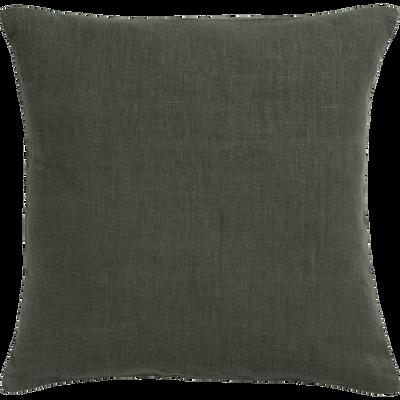 Coussin de sol en lin lavé vert cèdre 70x70cm-VENCE