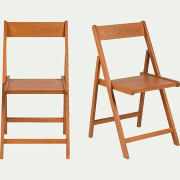 Chaise pliante en bois plaqué - naturel-JULIA