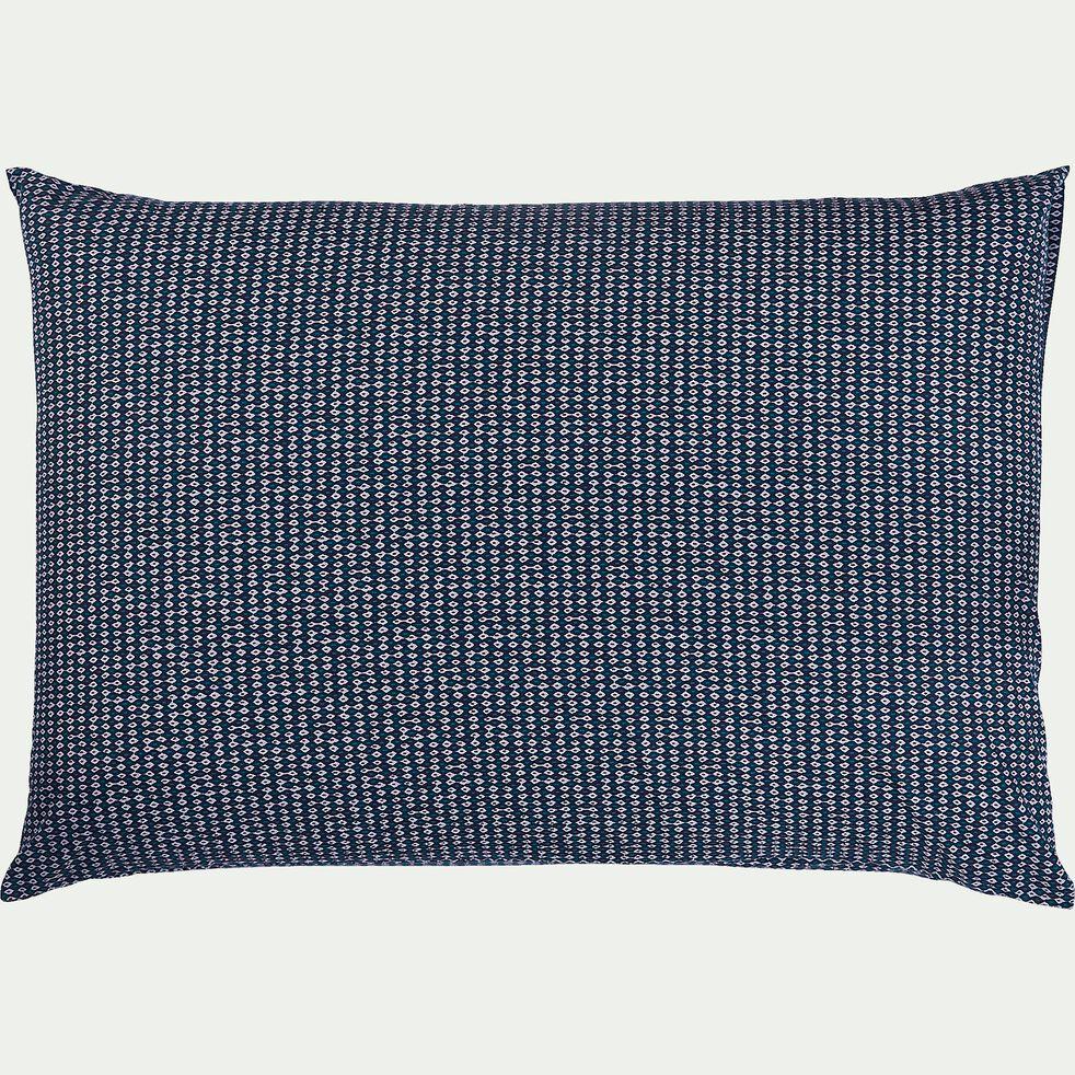Lot de 2 taies d'oreiller en coton peigné - bleu figuerolles 50x70cm-SEME