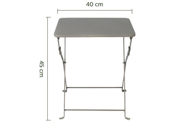 Table basse de jardin pliante taupe en acier - CERVIONE - tables ...