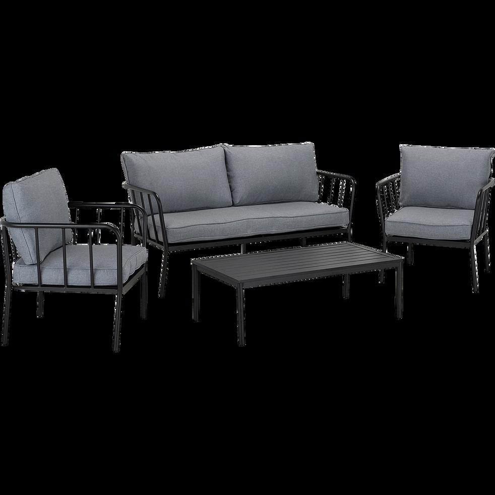Salon de jardin en aluminium gris (4 places)-OLMETO