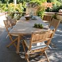 Table de jardin extensible en Teck massif FSC (6 à 10 places)-DUNE
