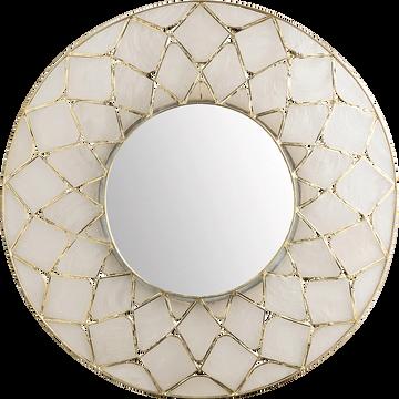 Miroir rond en nacre D38,5cm-Loreley