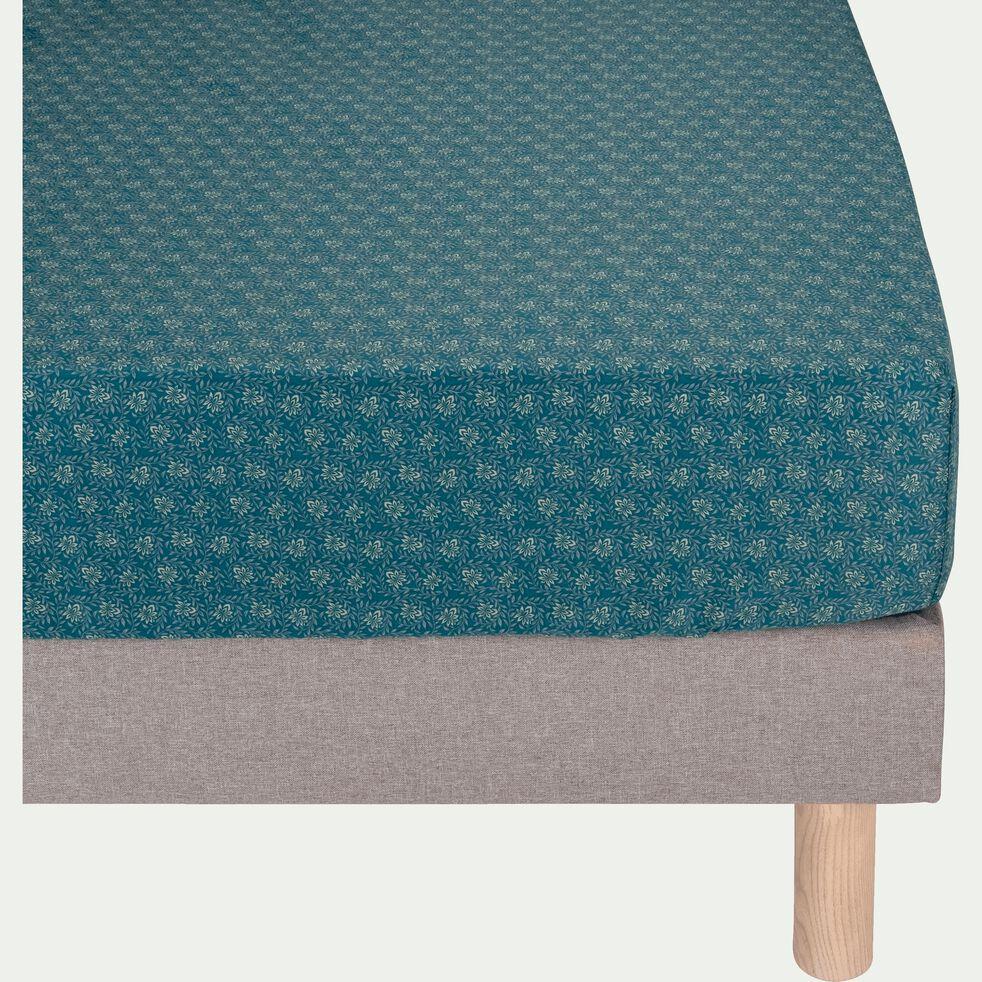 Drap housse en satin motif Jasmin - bleu 160x200cm B30cm-SOUN