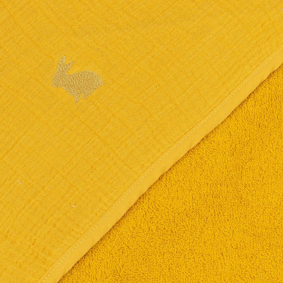 Ensemble cape de bain et gant bébé avec broderie lurex - jaune-Nuage
