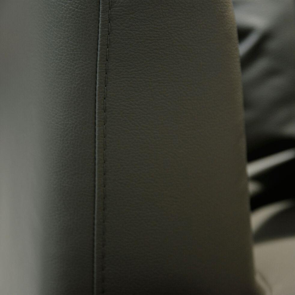 Canapé 3 places fixe droit en cuir gris restanque-TESSOUN