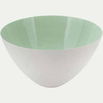 Saladier en métal blanc et vert D29,5cm-PABLO