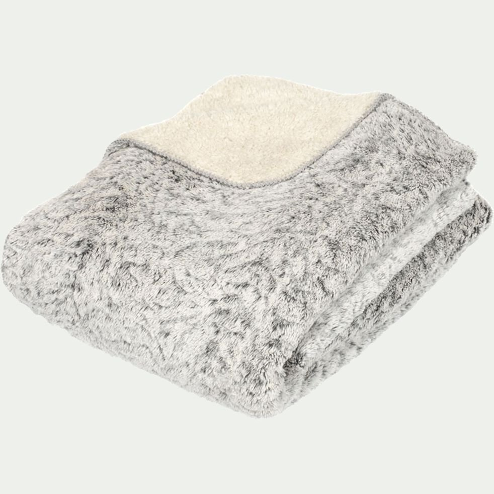 Couvre-lit réversible effet fourrure en polyester - gris 220x250cm-Lalou