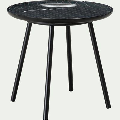 Bout de canapé en acier avec plateau motif tartan-VITOUR