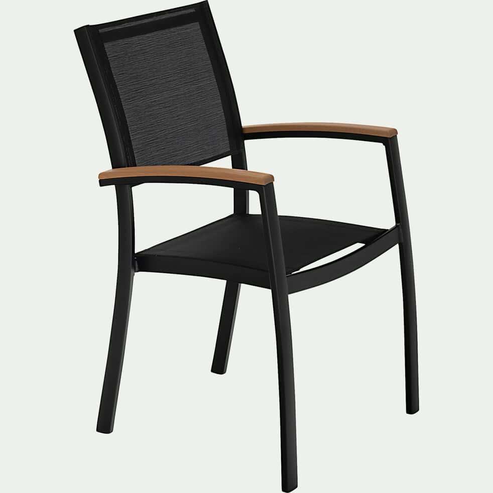Chaise de jardin avec accoudoirs empilable en aluminium - noir-DOLE